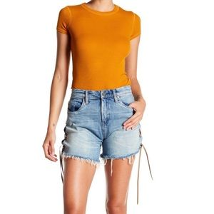 BLANKNYC Retro High Rise Lace Up Jean Shorts NWT